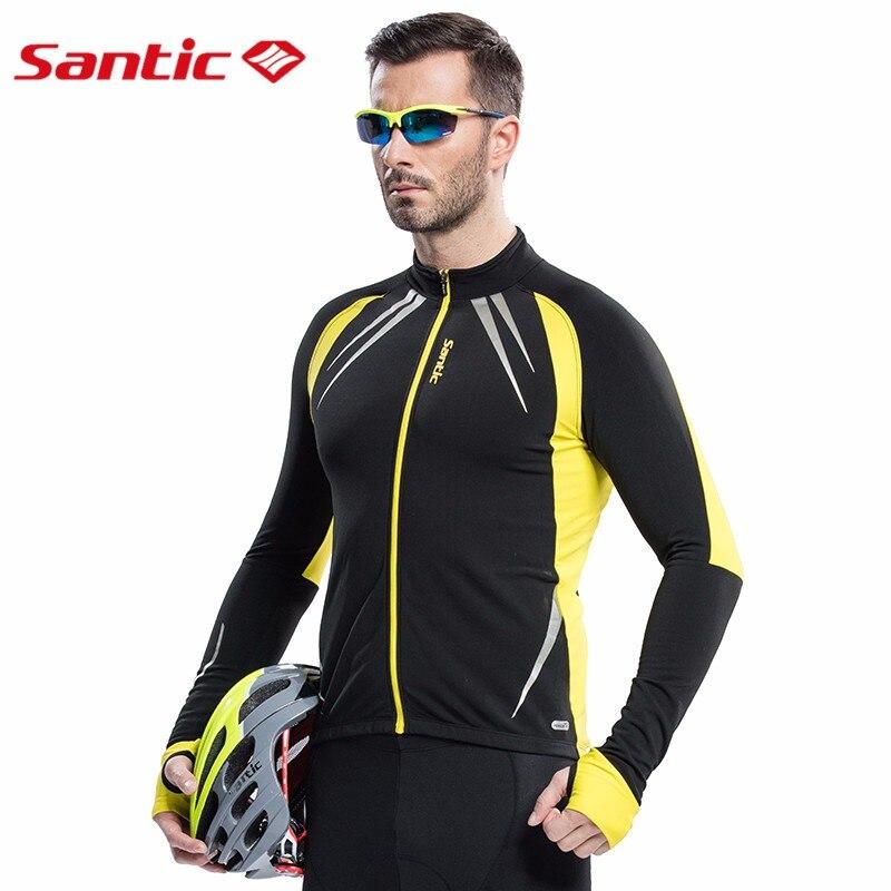 SANTIC veste de cyclisme thermique homme hiver échauffement polaire vélo vêtements coupe-vent vélo sport manteau vtt vélo Jersey