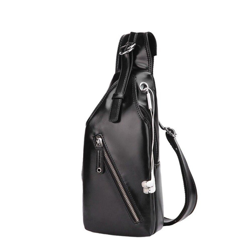 Casual Men Chest Bag Black Shoulder Bags Adjustable Strap Waterproof Crossbody Bag Solid Sling Bag PU Leather Chest Pack