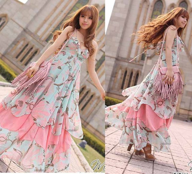 9f49521ec02 2013 Western fashion dress women casual graceful maxi dress colorful printed  beach dress free size free shipping CW049