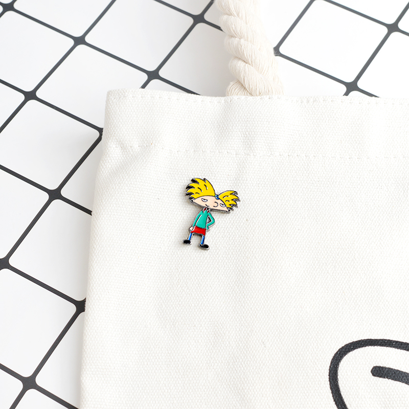 QIHE JEWELRY Brooches & pins Cartoon character brooch yellow hair boy Enamel pins Hard enamel pins Jacket bag cloth jewelry