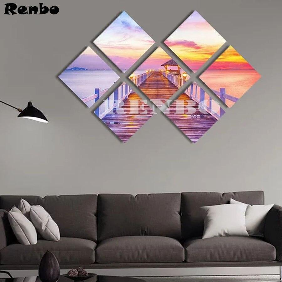 7 pcs Full square Diamond Painting Cross Stitch Scenic bridge 5D Diamond Embroidery Mosaic Multi picture