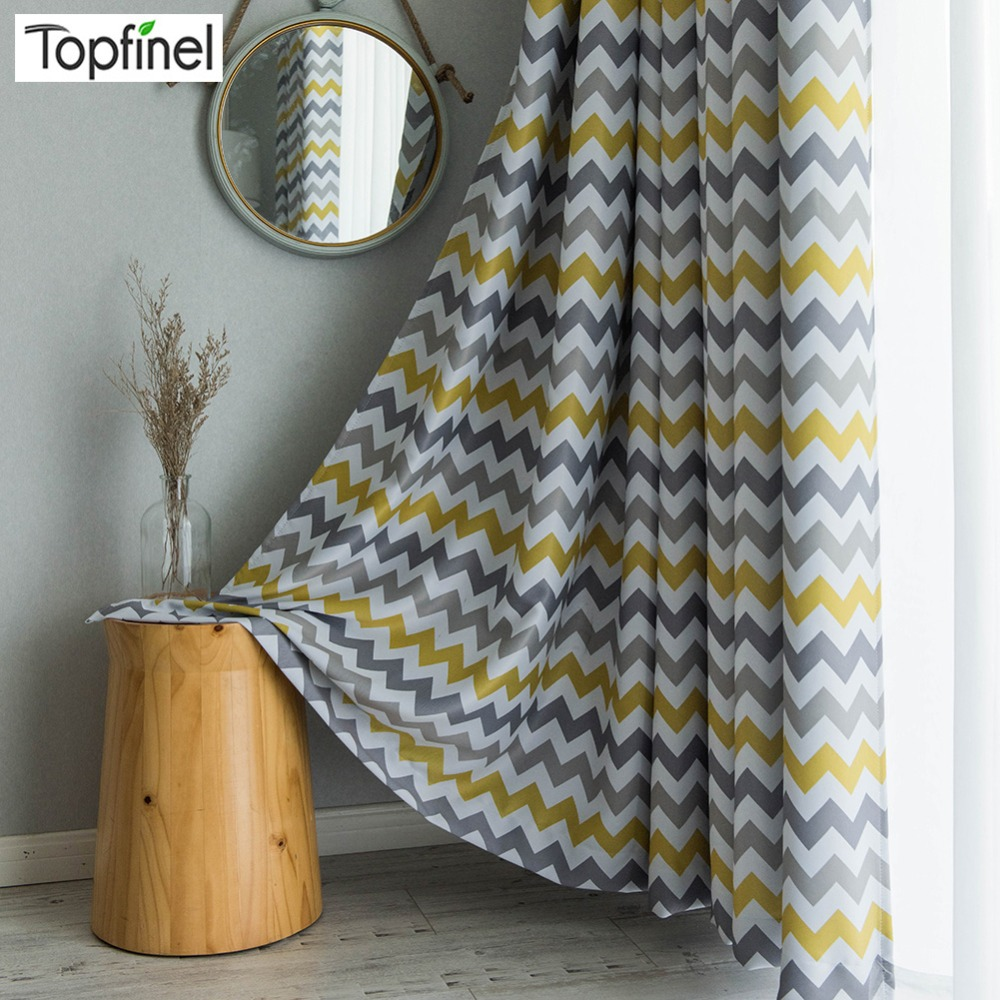 Topfinel Printed Geometric Wave Blackout Window Treatment Drapes Curtains  For Living Room Bedroom Custom Made Yellow Gray