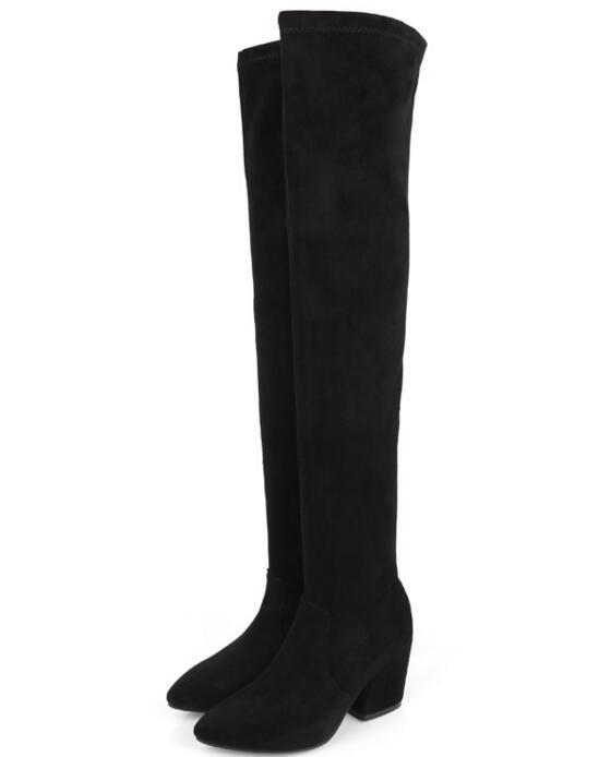 New fashion black stretch fabric over the knee boots 2017 pointed toe thick heels boots for woman sexy thigh high boots недорго, оригинальная цена