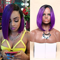 Beautiful Ombre purple Rihanna short Straight Two Colors Black wig Synthetic Hair wigs for Black Women Cheap cosplay pelucas