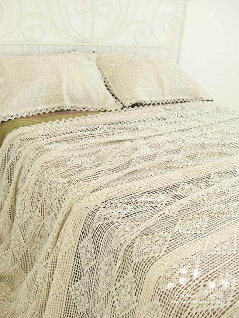 100%Cotton Handmade Crochet Bedspread With Pillowcases Crocheted ...