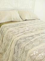 100%Cotton Handmade Crochet Bedspread With Pillowcases Crocheted Coverlets Bed Linen White Lace Bedding Sets Princess bed sheet
