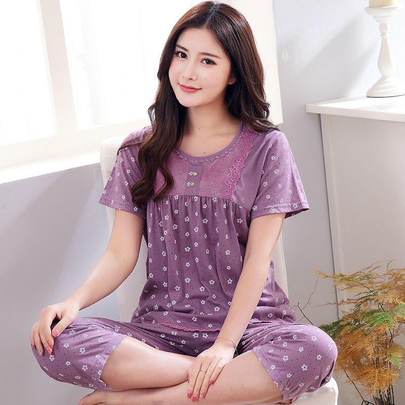Women short sleeve cotton cartoon night gownsleepwearsleep dressnightshirt