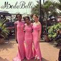 2017 Western Sexy Mermaid Bridesmaid Dress Pink Peach Short Sleeve Sheer Tulle Off Shoulder Wedding Guest Dresses For Women
