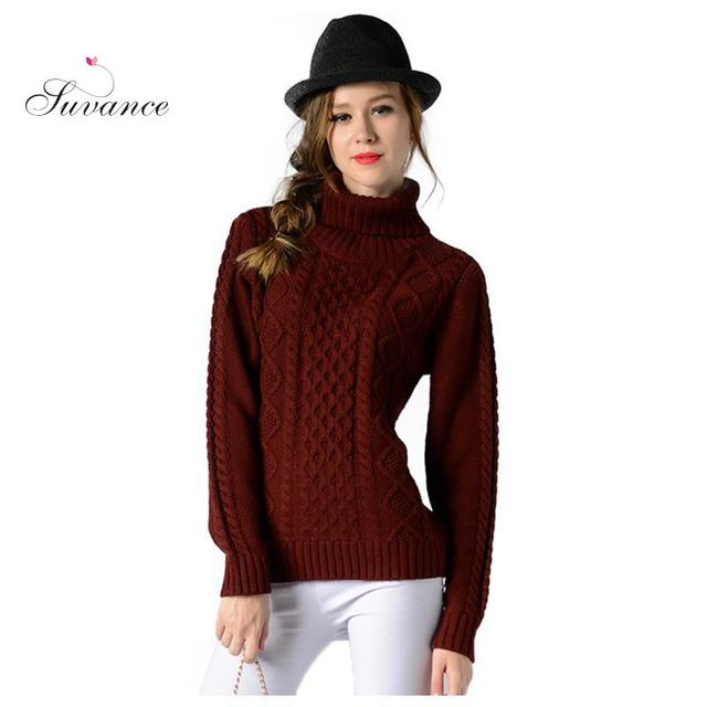 ed1813181b Fashion Turtleneck Solid Color Classic Patters Long Sleeves Casual Knitted  Thick Pullovers Quality Brand Women Sweaters