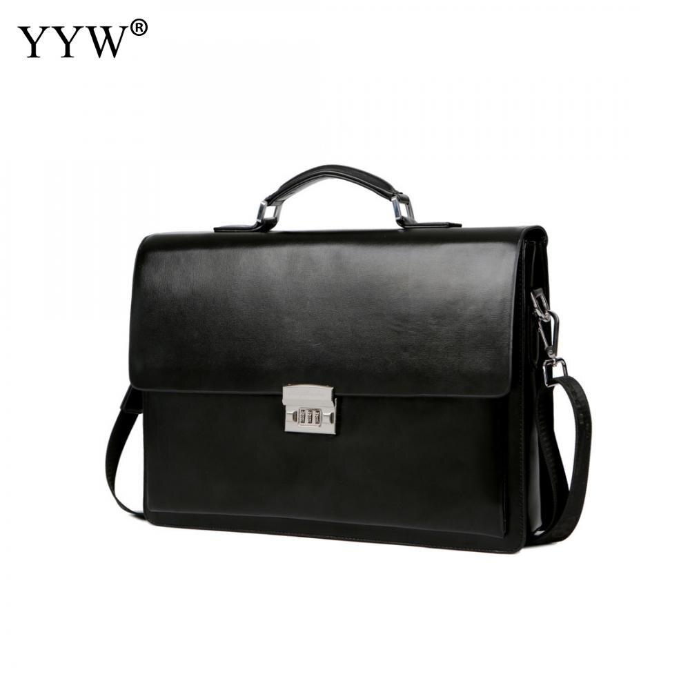 Mallette d'affaires homme affaires homme sac portefeuille noir cabas pour homme un étui pour Documents sac à main classique en cuir synthétique polyuréthane