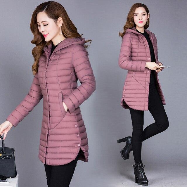 2018 Kış Sonbahar Kadın Pamuk Yeni İnce Coat Kapşonlu Pamuk kapitone ceket Tüm Maç Parkas Pamuk kapitone ceket Kadın Dış Giyim
