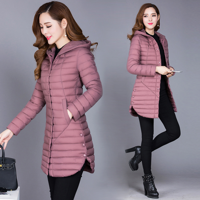 2019 Winter Autumn Women Cotton New Slim Coat Hooded Cotton Padded Jacket All-Match Parkas Cotton Padded Jacket Female Outwear