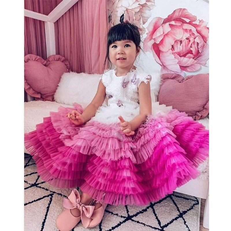 Coloré arc-en-ciel fleur fille robe 2019 scoop couches enfants robes de reconstitution historique pour les filles première comunion robe de luxe