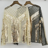 Lace Tops Women's Fashion Luxury Beading Sequins Long Sleeve Blouse Shirts