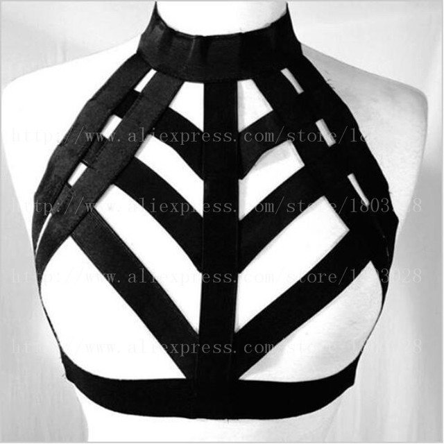 Новая камера бюстгальтер черный эластичный бандаж подвязки сексуальная гот фетиш летнее платье тело жгут хэллоуин рейв носить пентаграмма проводов