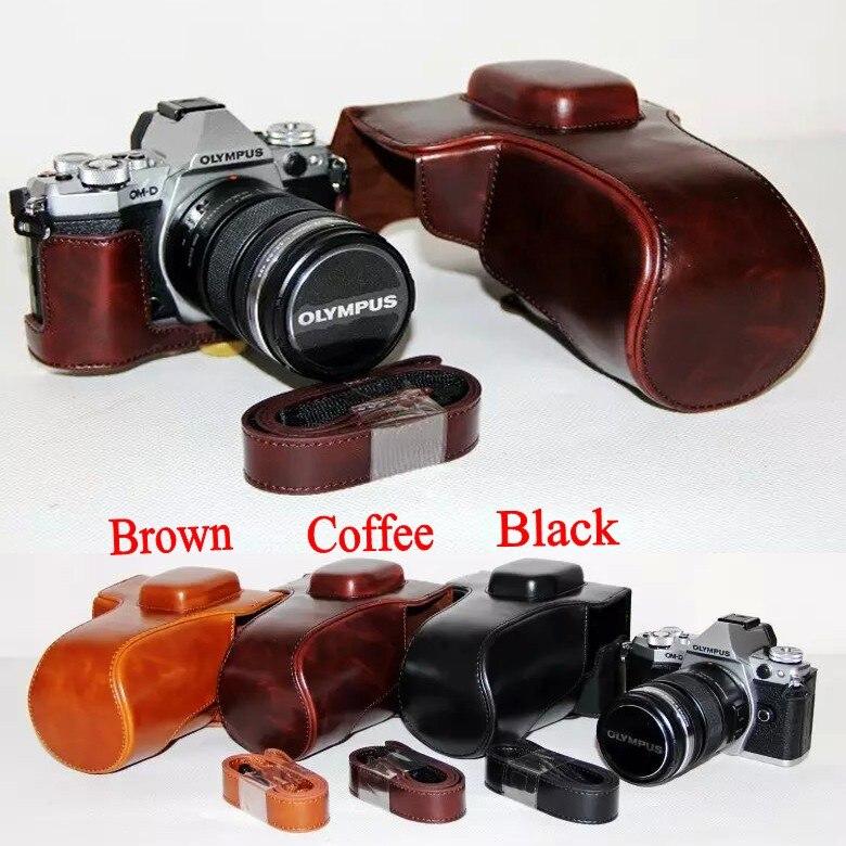 Vintage Leather Camera Video Bag Case Hard Case For Olympus E-M5 II EM5 Mark II 12-50 mm Lens Coffee Brown Black With Strap