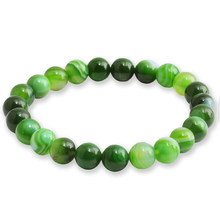 Yoga Casual Natural Stone Beads Bracelet For Men Women Gradient Green Lava Bangle Jewelry Adjustable Gift 8mm pulsera(China)
