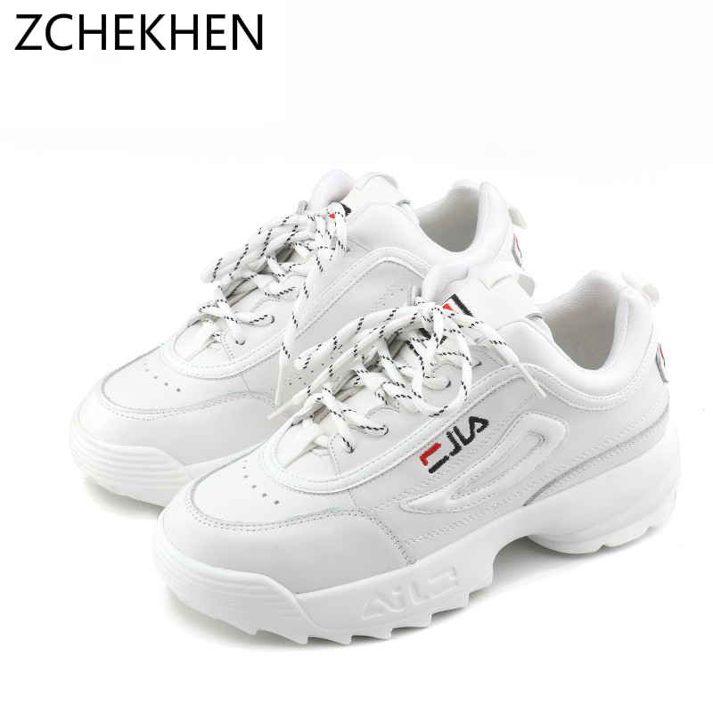Spring Fashion Lady Casual White Shoes Women chunky Sneaker Black Thick Soled Shoes Flats Cross-tied Lace Up tenis feminino