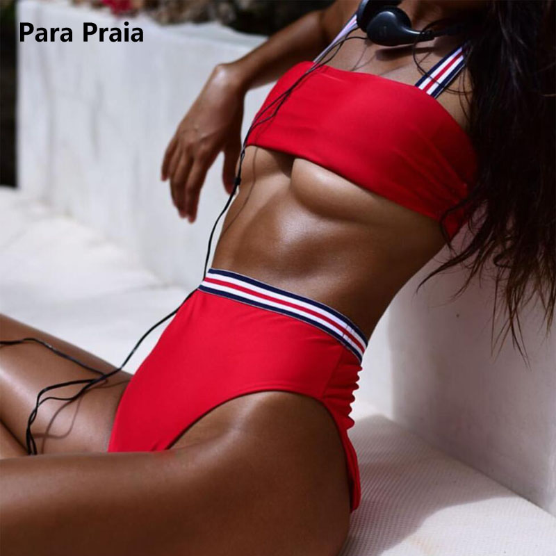 Two Pieces Striped Swimsuit 2018 New Solid Sport Bikini Set High Waist Swimwear Bandeau Biquini Women Bathing Suit With Padded