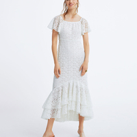 KIYUMI Dress Women Lace Summer Dress Hollow Out Slash Neck Boho White Short Sleeve Maix Dress New 2019 Woman Party Dresses Beach