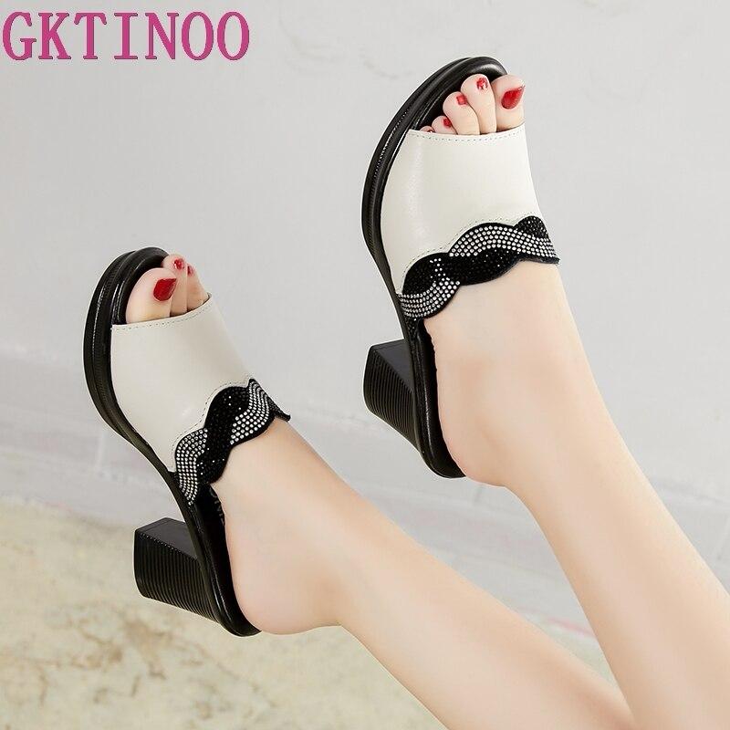 GKTINOO Women Slipper's 2019 Ladies Summer Slippers Shoes Women High Heels Fashion Rhinestone Summer Shoes Genuine Leather