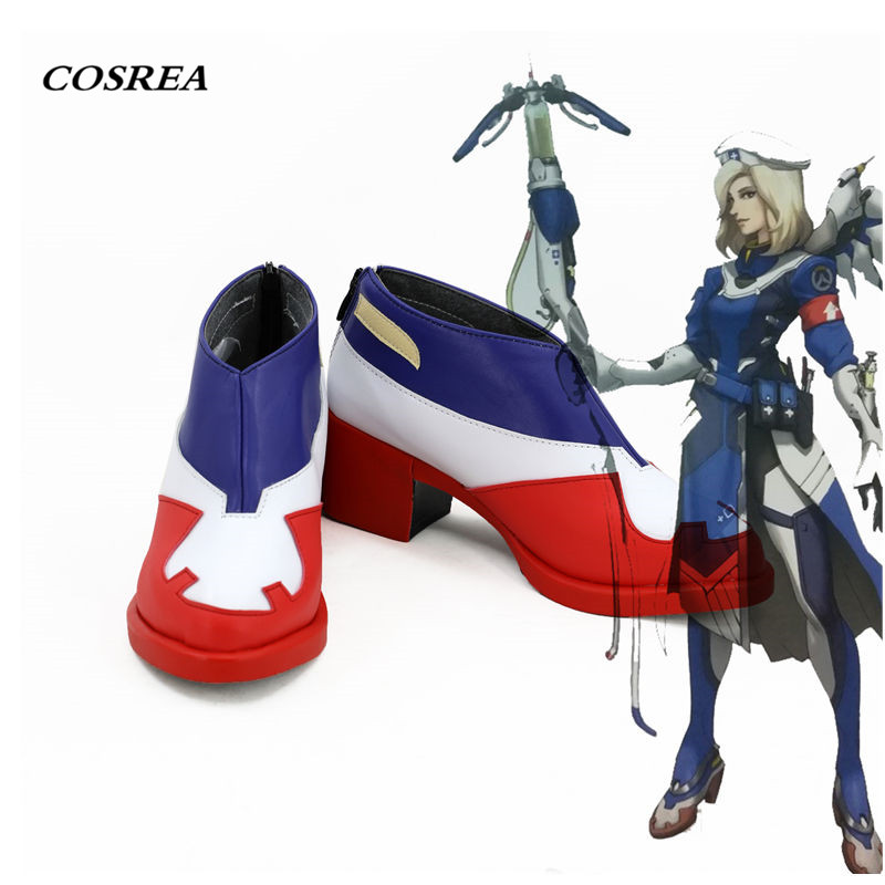 COSREA OW Mercy Cosplay Costume Angela Ziegler Red Heel Shoes Boots Cosplay Halloween Party For Adult Woman