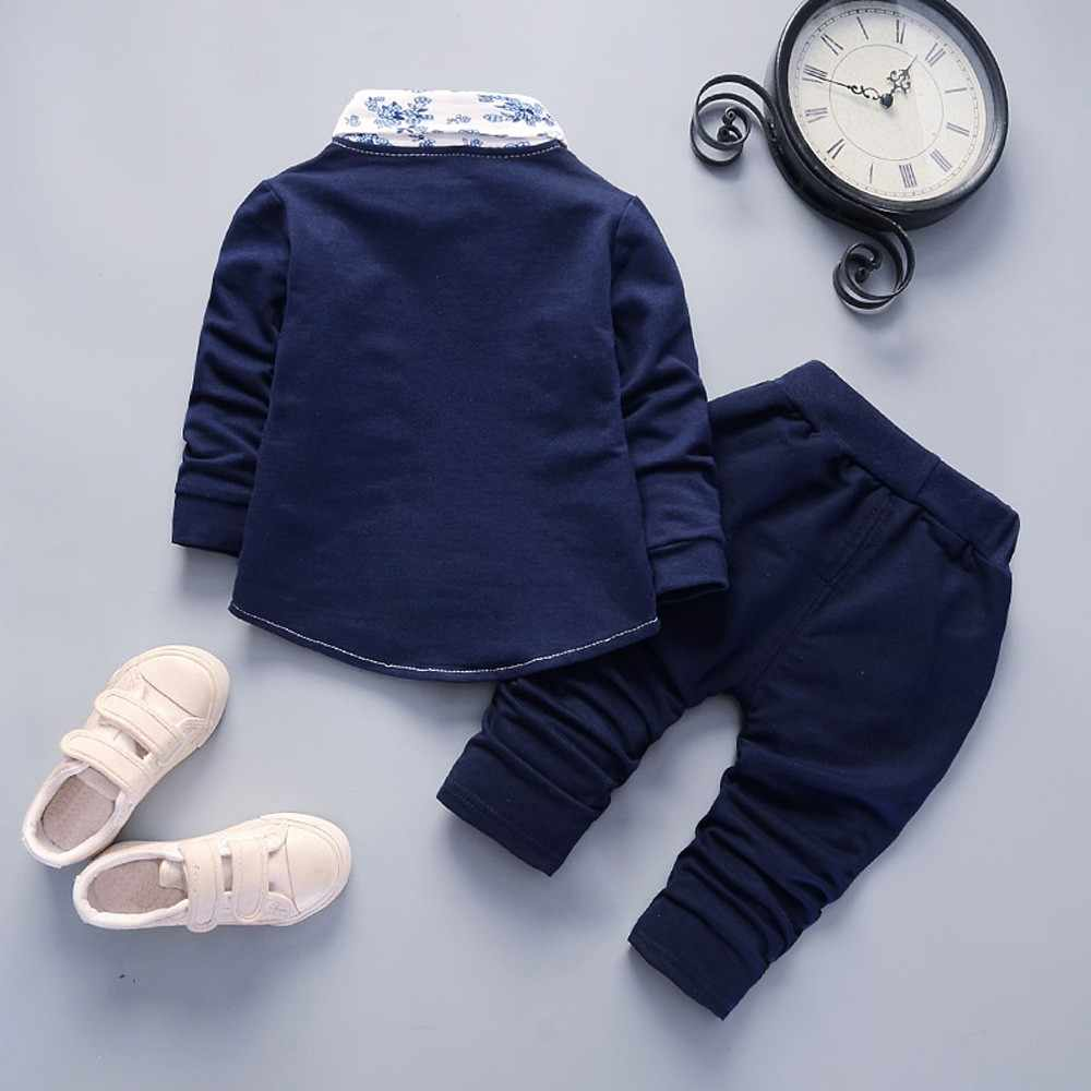 b6e9ea04078ec Kid Baby Boy Gentry Clothes Set Formal Party Christening Wedding Tuxedo Bow  Suit Long sleeve gentleman floral small suit#30