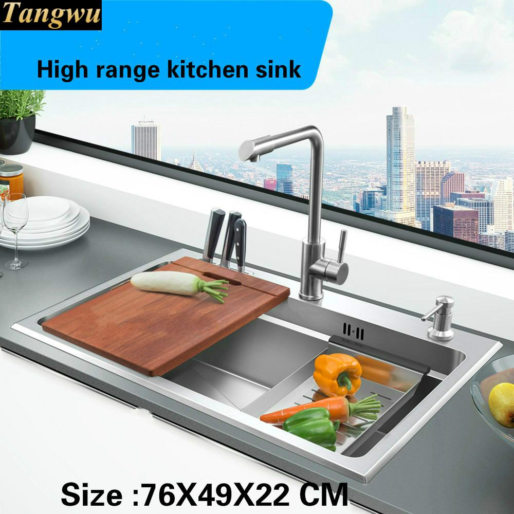 A Tangwu Hand made of high quality single slot luxury kitchen sink food-grade 304 stainless steel 76x49x22 cmA Tangwu Hand made of high quality single slot luxury kitchen sink food-grade 304 stainless steel 76x49x22 cm