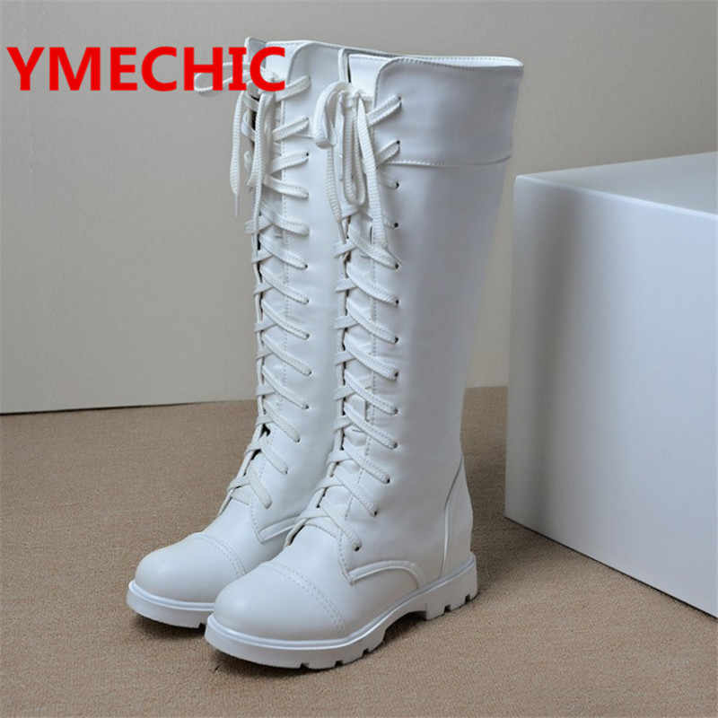 YMECHIC Lace Up Thigh High Boots Gladiator Shoes Cross Tied Women Boot Large Size Casual Flats White Black Motorcycle Boots 9937
