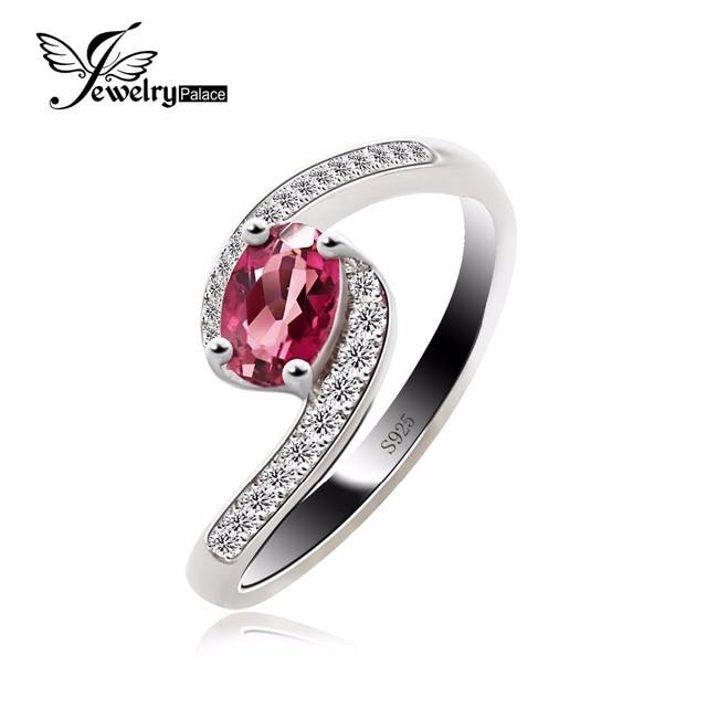 Jewelrypalace anel natural turmalina pedra preciosa s925 esterlina anel de noivado de prata para as mulheres finas jóias