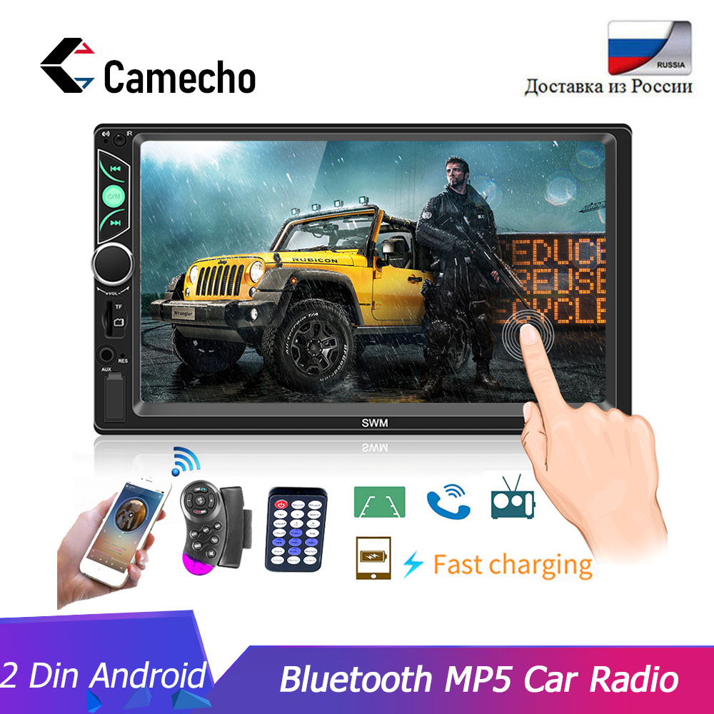Camecho 2DIN Autoradio 7 pouces HD Autoradio FM/TF/USB stéréo Radio miroir lien Bluetooth écran tactile caméra de commande de roue