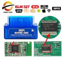 20 sztuk/partia Super mini elm327 V2.1 WIFI obsługuje protokoły OBD II elm 327 V1.5 bluetooth dla androida IOS czytnik kodów kreskowych skaner