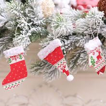 Christmas Tree Ornament Boot Cane Hanging Pendant Party Decor Xmas Gift Winter Socks Hat Gloves Christmas Pendant Home Decor 30(China)