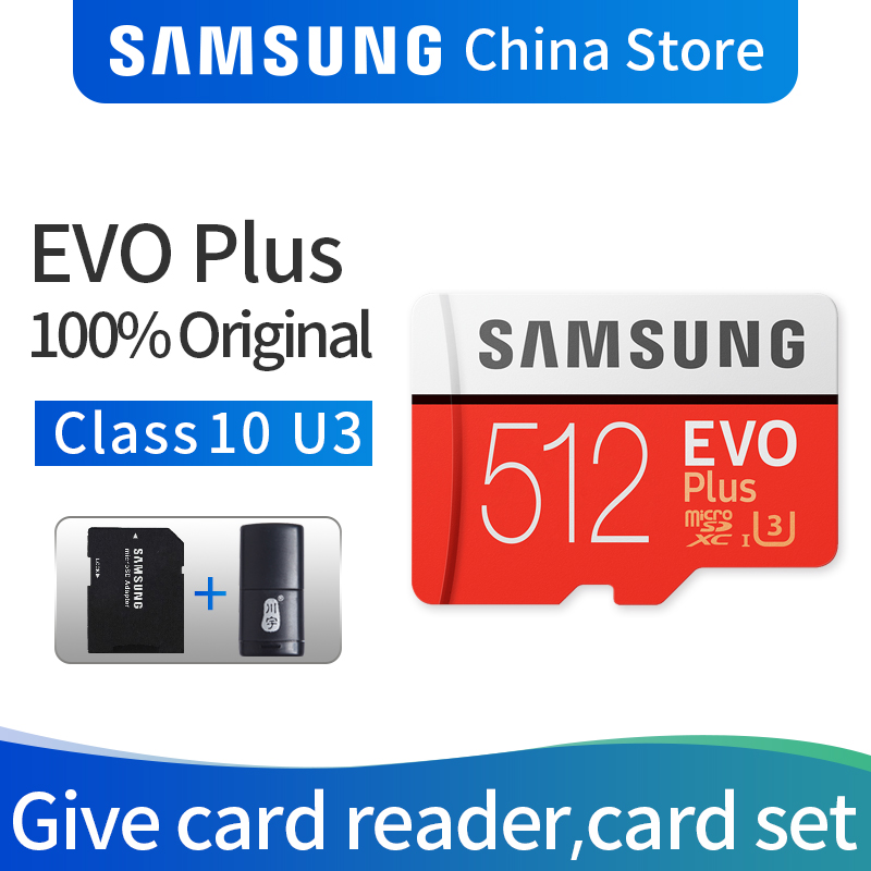 SAMSUNG Carte Mémoire Micro SD EVO PLUS 512 GB SDHC SDXC Grade Class10 C10 UHS-1 TF Cartes Trans Flash 4 K microsd