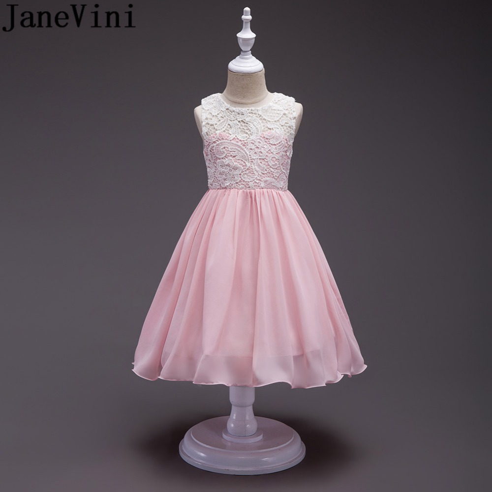 JaneVini 2018 Pink Lace Top   Girls     Flower     Girl     Dresses   Chiffon Skirt Long   Flower     Girl   Robe Sleeveless Kids Evening Gowns Wedding