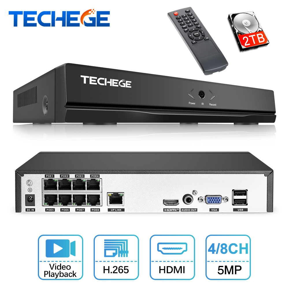 Techege 4CH 8CH Full HD 5MP 4MP PoE NVR All-in-one Network Video Recorder For PoE IP Cameras P2P XMeye CCTV System