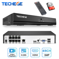 Techege 4CH 8CH Full HD 5MP 4MP PoE NVR All in one Network Video Recorder for PoE IP Cameras P2P XMeye CCTV System