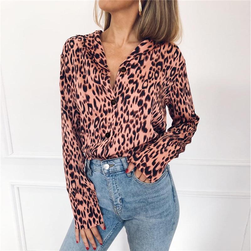 Women   Blouses   Autumn Vintage Leopard   Blouse   Long Sleeve Turn Down Collar Lady Office   Shirt   Loose Tops Plus Size Blusas Chemisier
