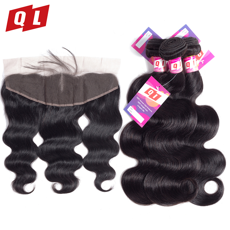 QLOVE HAIR 13x4 Lace Frontal Closure With Bundles Brazilian Body Wave Human Hair Bundles With Frontal