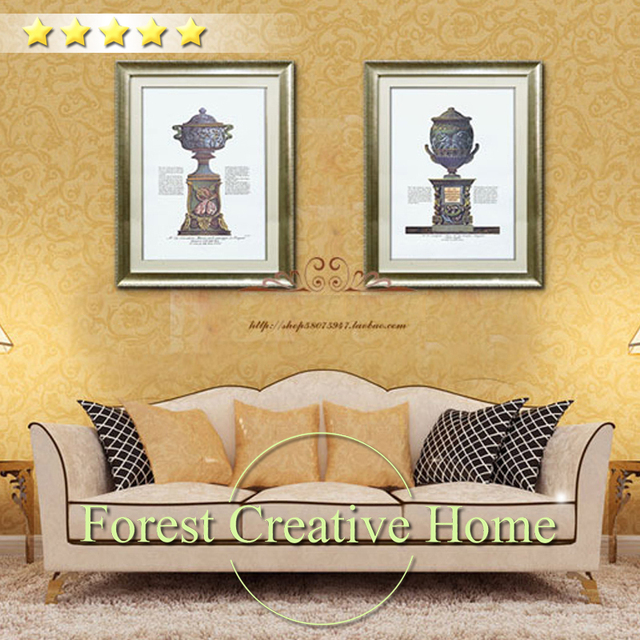 Vintage chinese style 2 panels murals canvas art classical maya ...