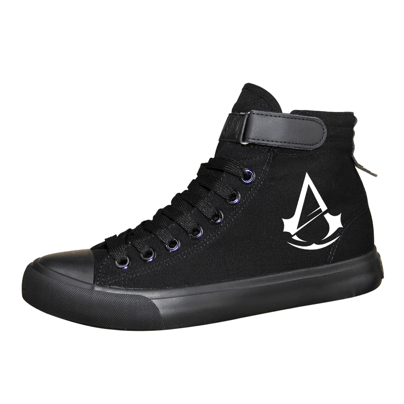 Men Vulcanized Canvas Shoes Assassins Creed Print Classic High Top Canvas Shoes for Teenage Boys Leisure Flats Mens Shoes A51409 toseek full carbon fibre bicycle road handlebar integrated bike handlebar stem cycling bent bar ud matte gloss balck logo