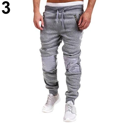 Men Casual Tracksuit Trousers Zipper Sweat Pants