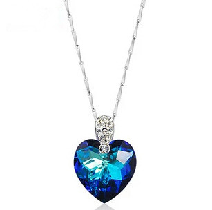 2017 high quality romantic blue crystal love heart 925 sterling silver ladies pendant necklaces fashion jewelry wholesale