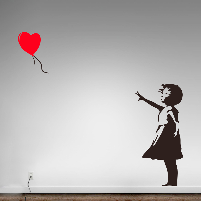 Banksy Vinyl Wall Sticker Home Decor Girl with Heart Balloon Street Graffiti Art Decal միշտ հույս կա որմնանկար Անվճար առաքում