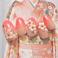 24PCS Fashion Long Fake Nails Tips Oval Gradient Render Japanese Kimono Cherry Flower Decorated Lovely Flase Nail For Girl Lady