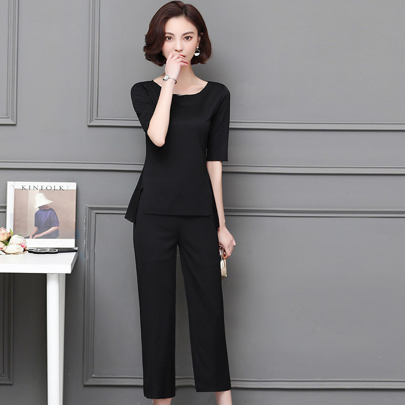 M-5xl Summer Two Piece Sets Women Plus Size Half Sleeve Tops And Pants Suits Pink Black Casual Office Elegant Women's Sets 2019 44