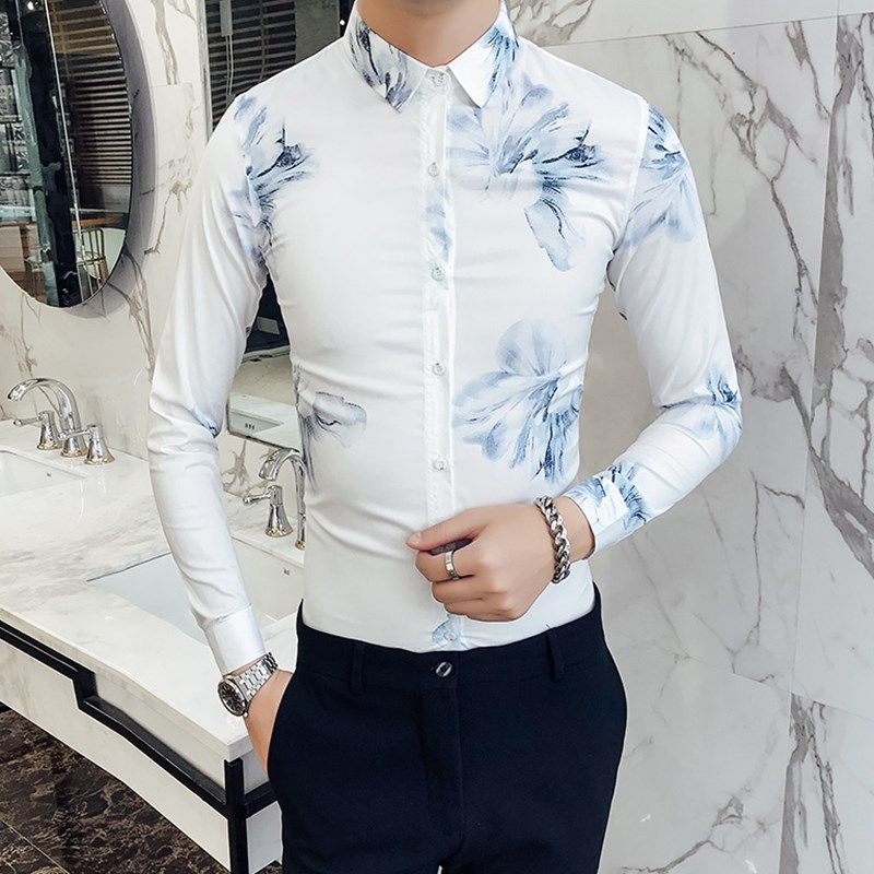 2018 spring Korean printing shirt male long sleeve Slim thin section hair stylist handsome nightclub trend wild shirt