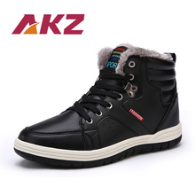 AKZ 2018 New Arrival Men's Ankle Boots Winter Warm Snow boots High Quality Male Work boots Round toe Lace-up Big size 39-48 цена 2017