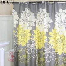 YO CHO Bathroom Products Floral fabric Bathroon Curtain Home farmhouse decor Peony Flower christmas shower curtain with hooks