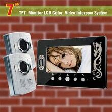 Nuevo 7 pulgadas Lcd de la puerta del timbre del teléfono Intercom sistema de seguridad 2 cámara 1 Monitor de puerta Bell Video de vídeo portero automático Intercom